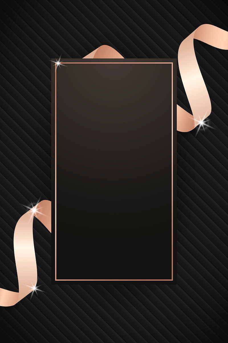 Rectangle frame with pink gold ribbon illustration