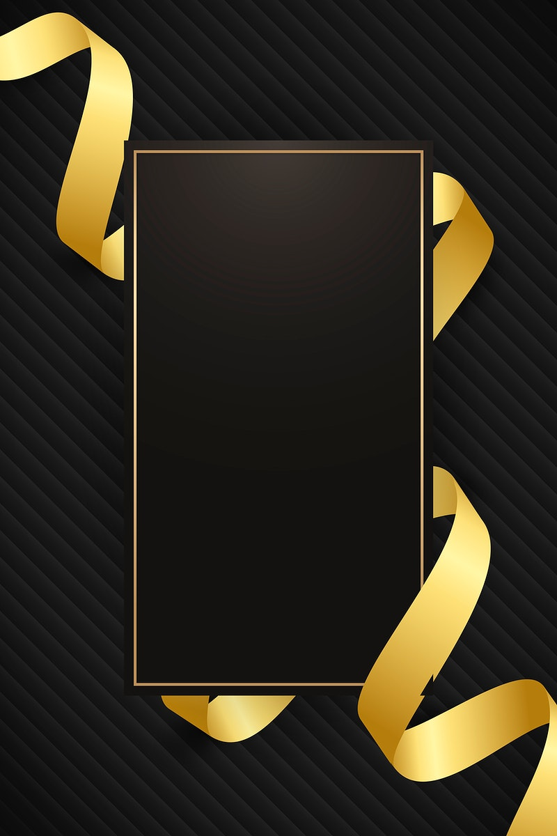 Rectangle frame with gold ribbon pattern on black background vector