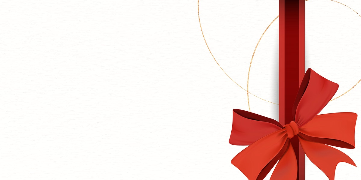 Red ribbon bow element on beige background vector