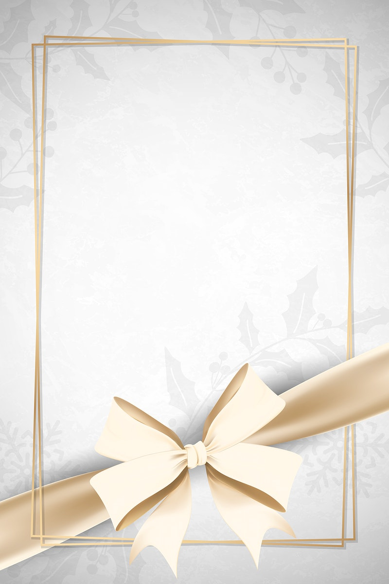 Gold frame with ribbon bow on gray background vector