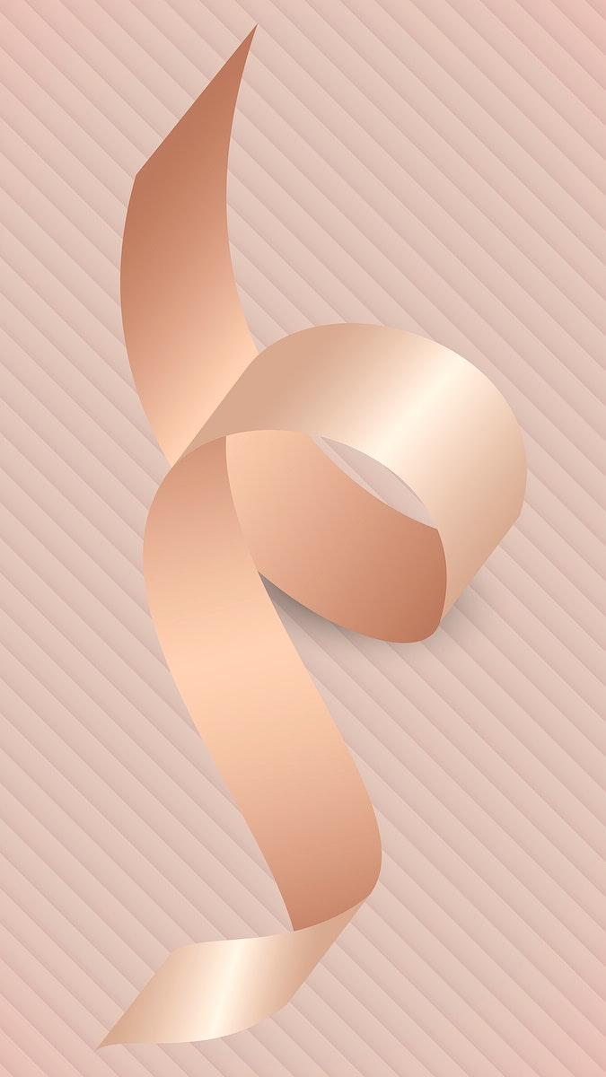 Pink gold ribbon element illustration