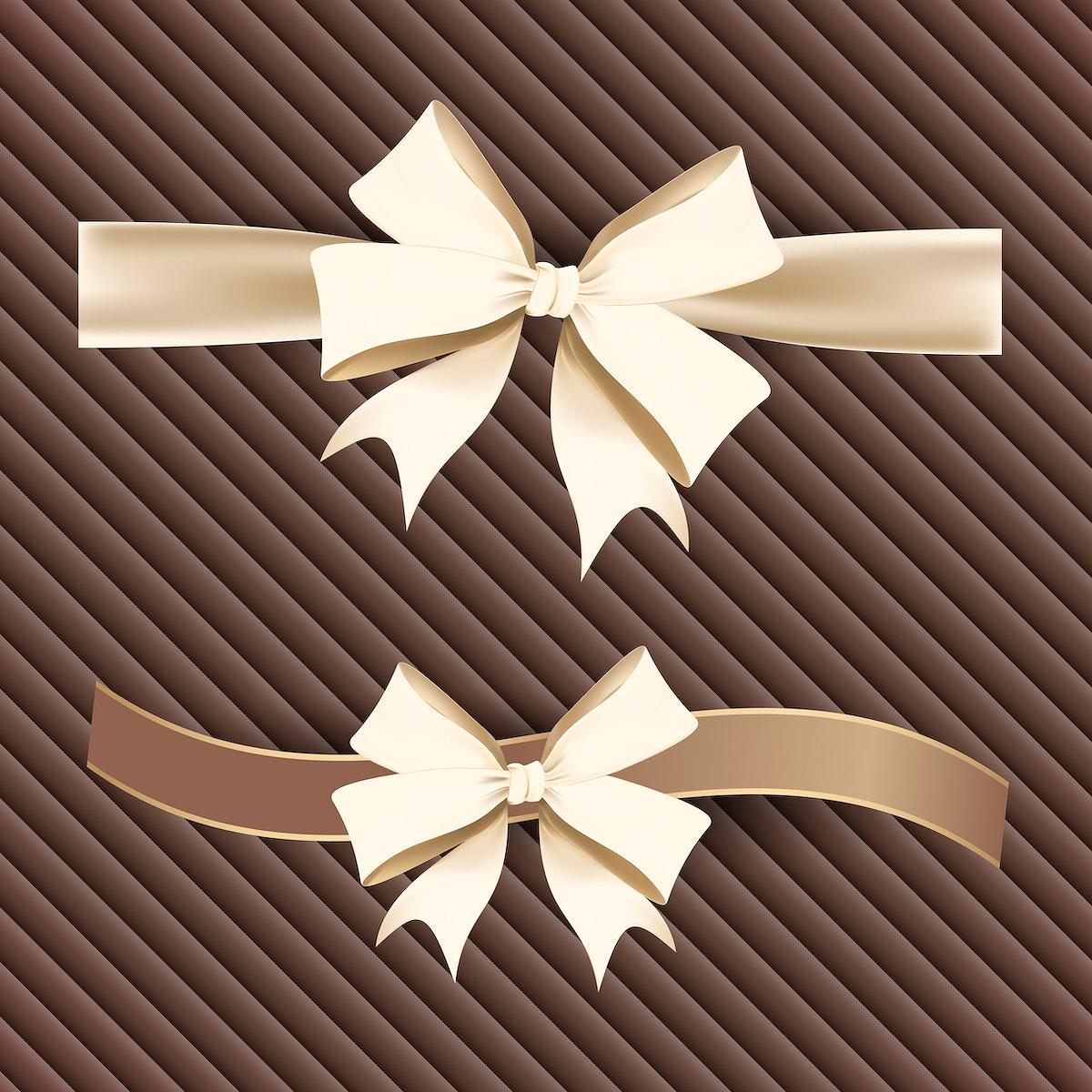 Gold ribbon bow element set vector