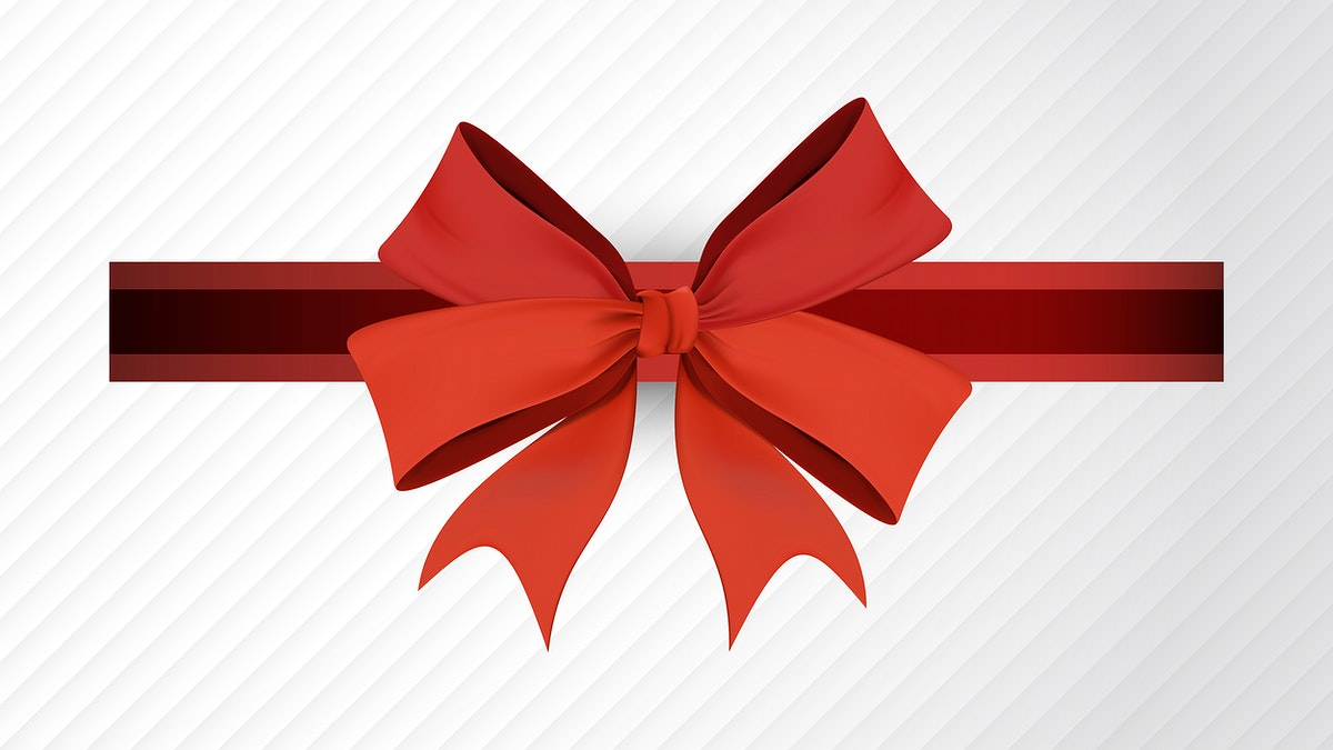 Red ribbon bow element on white background vector