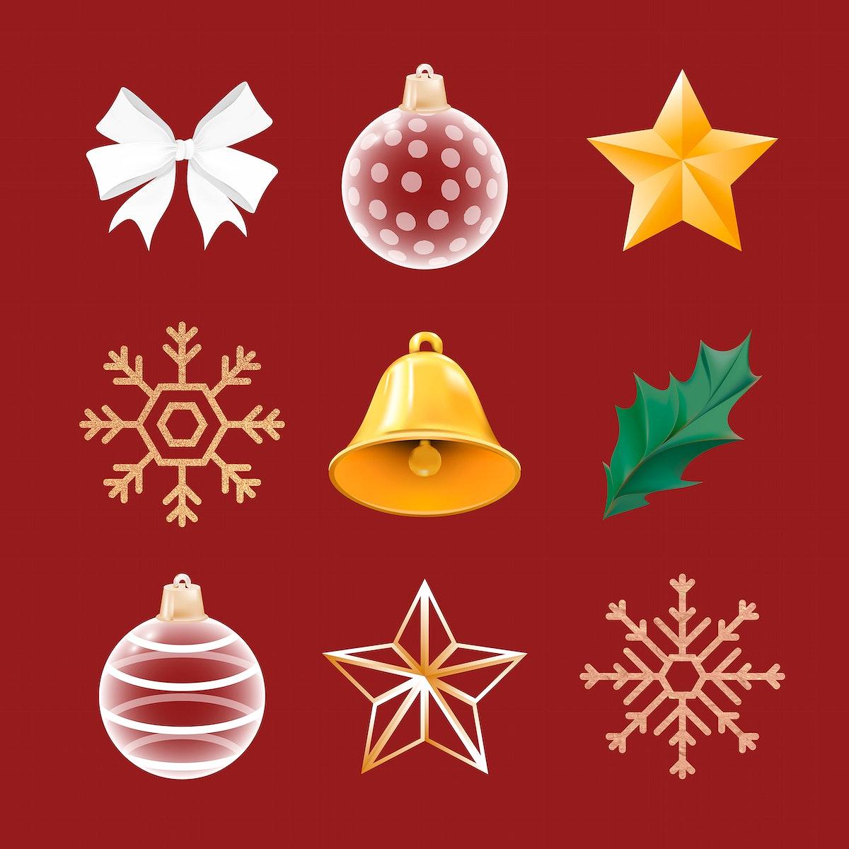 Christmas decorative ornament set vector