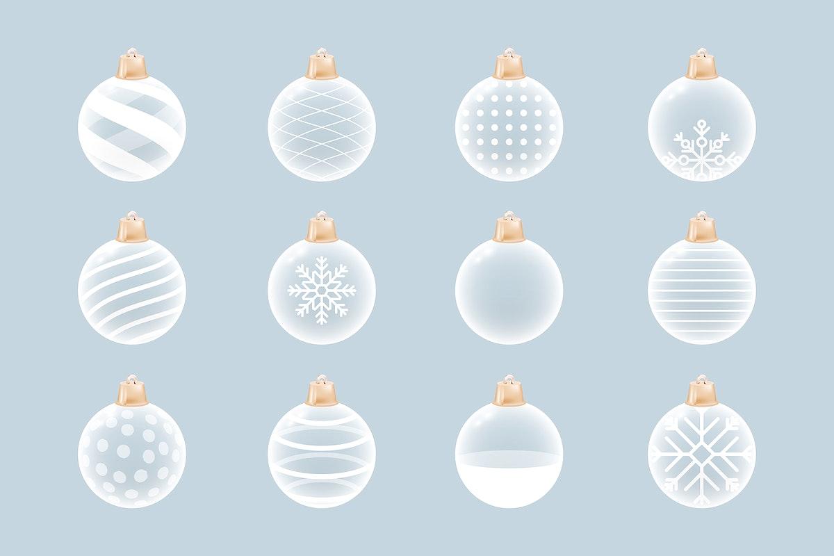 White Christmas baubles decorative element set vector