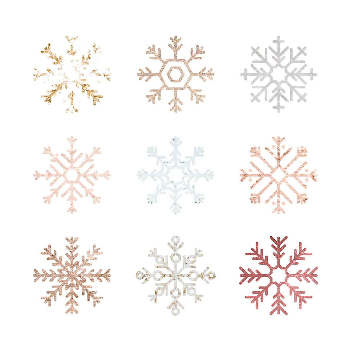 Christmas snowflakes decorative ornament collection vector