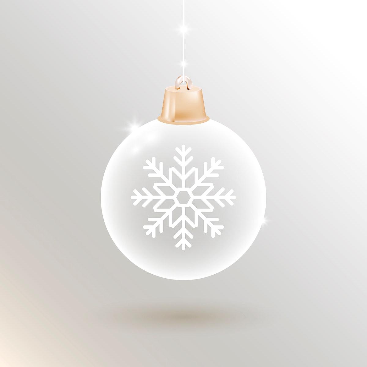White Chrismas bauble element vector