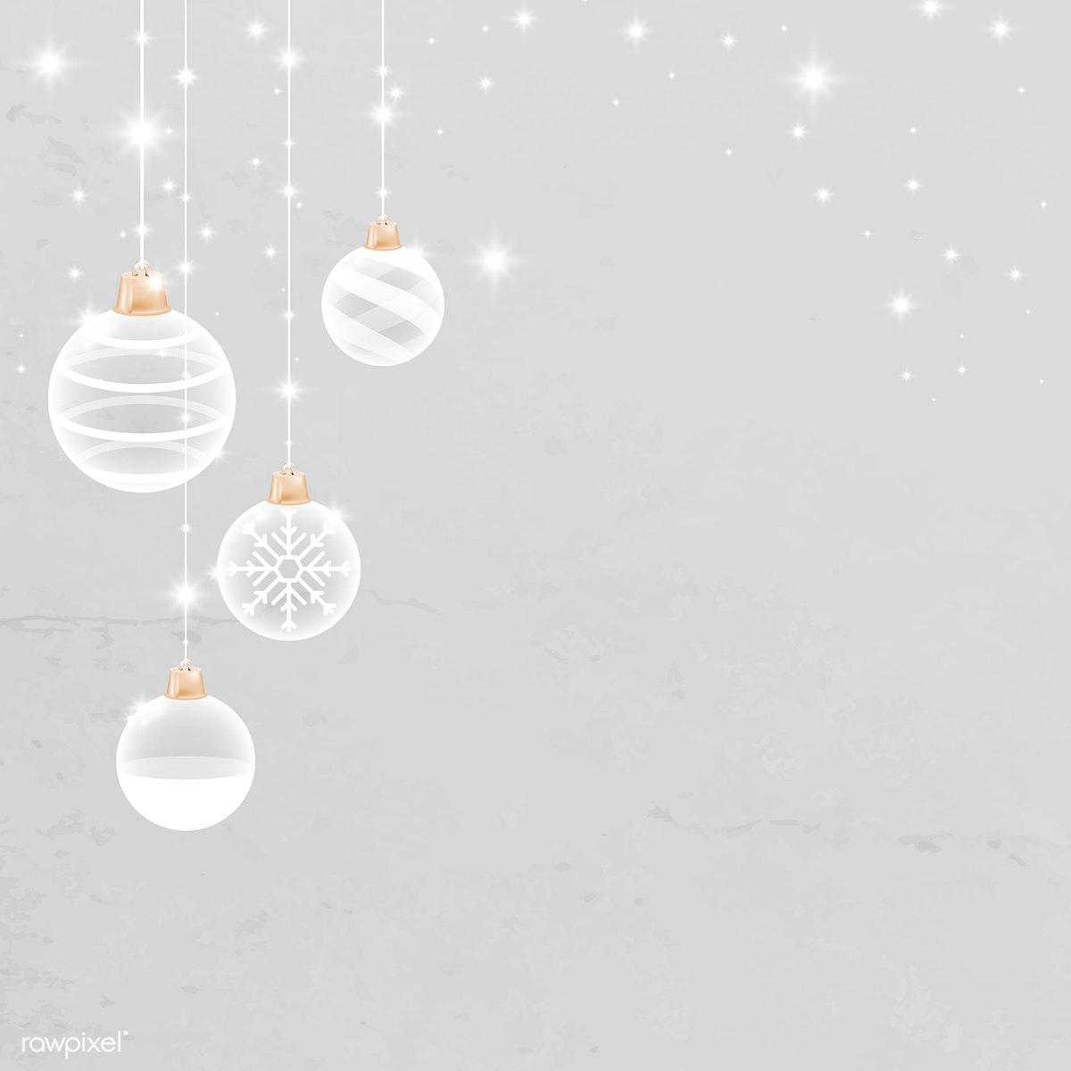 White Christmas Background.Download Premium Image Of White Christmas Bauble Patterned On Gray