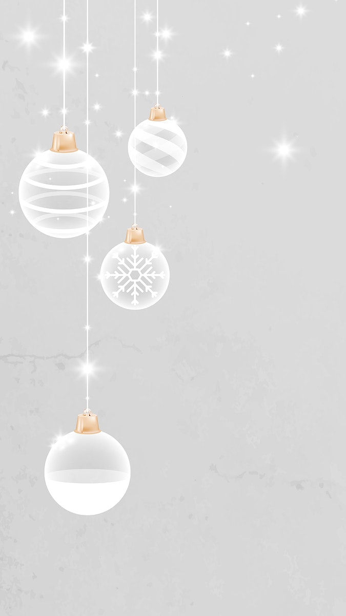 White Christmas bauble patterned on gray mobile phone wallpaper vector