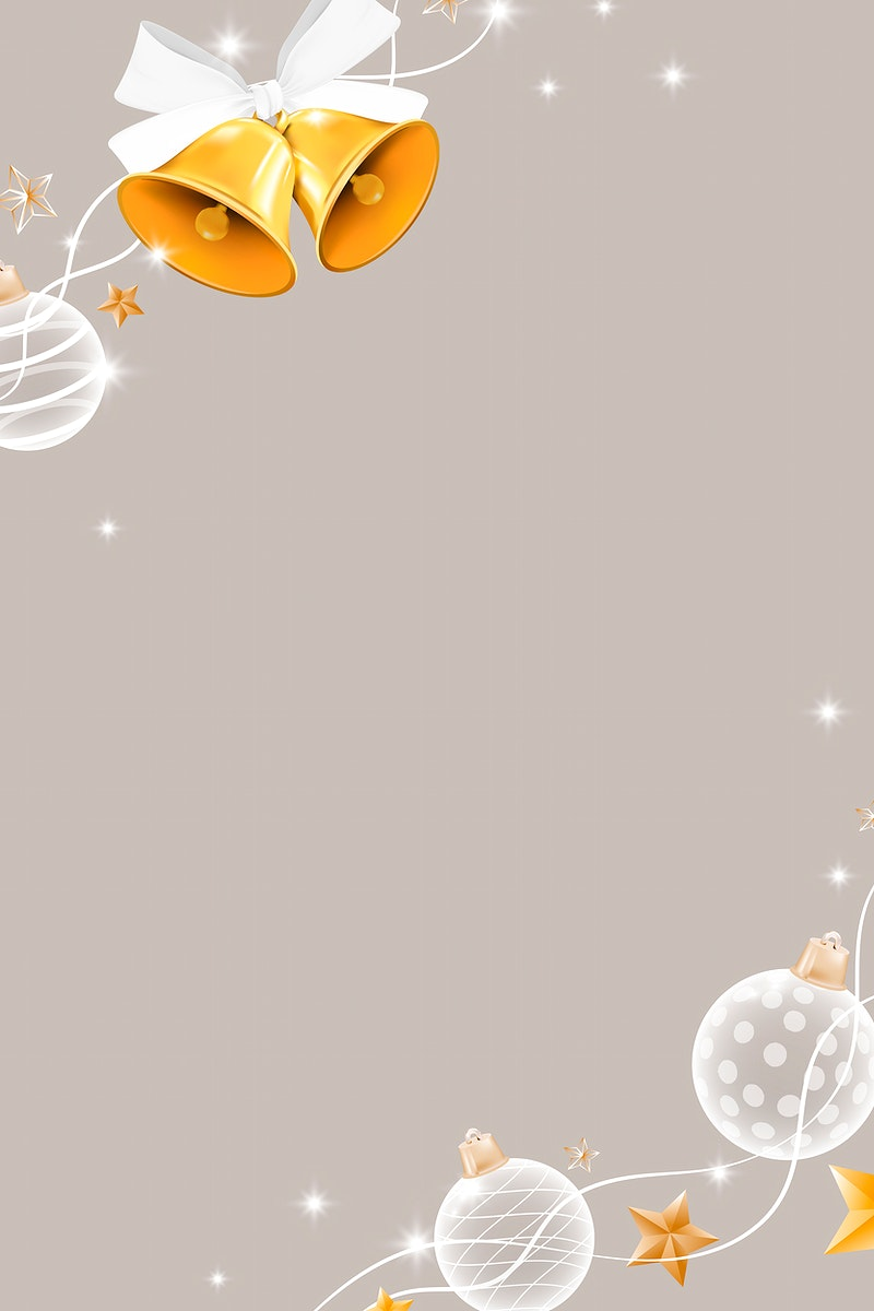Gold bell with white baubles patterned on beige background vector