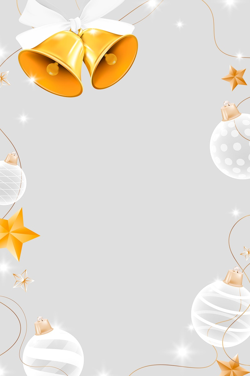 Gold bell with white baubles frame vector