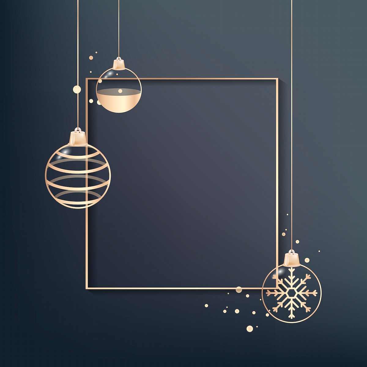 Gold frame with bauble patterned vector