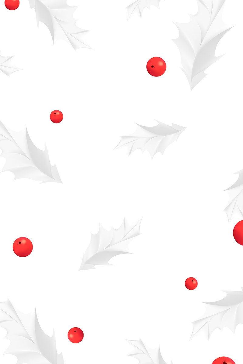 Mistletoe with red berries patterned background vector