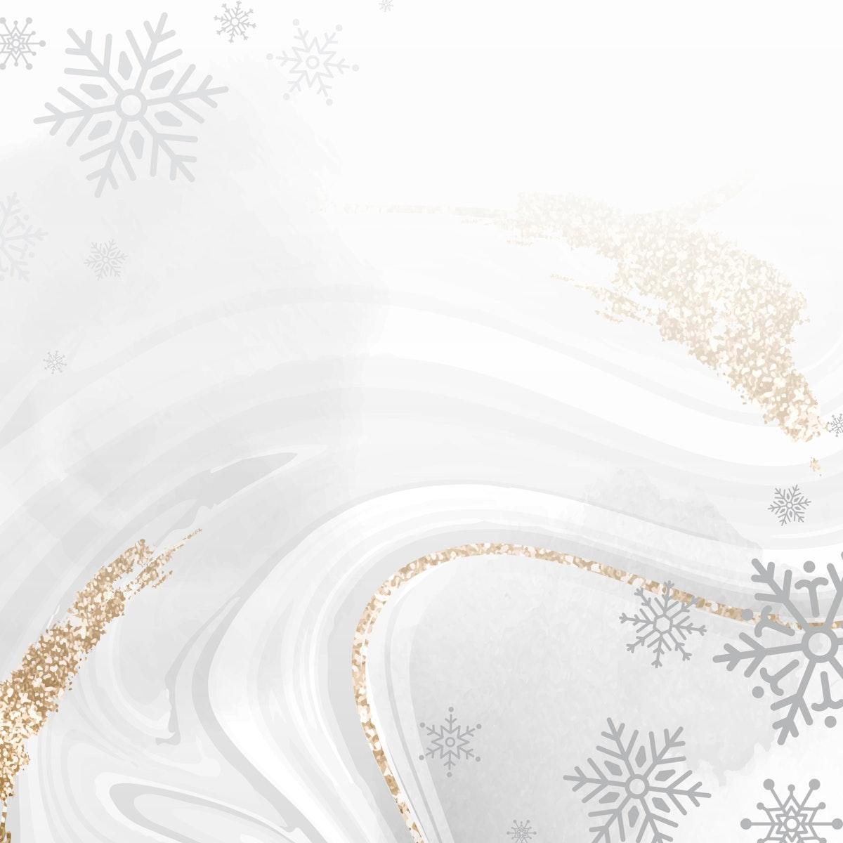 Golden snowflake social ads template vector