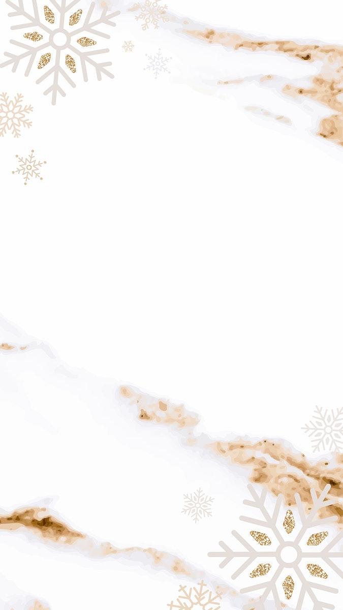 Golden snowflake mobile phone wallpaper vector