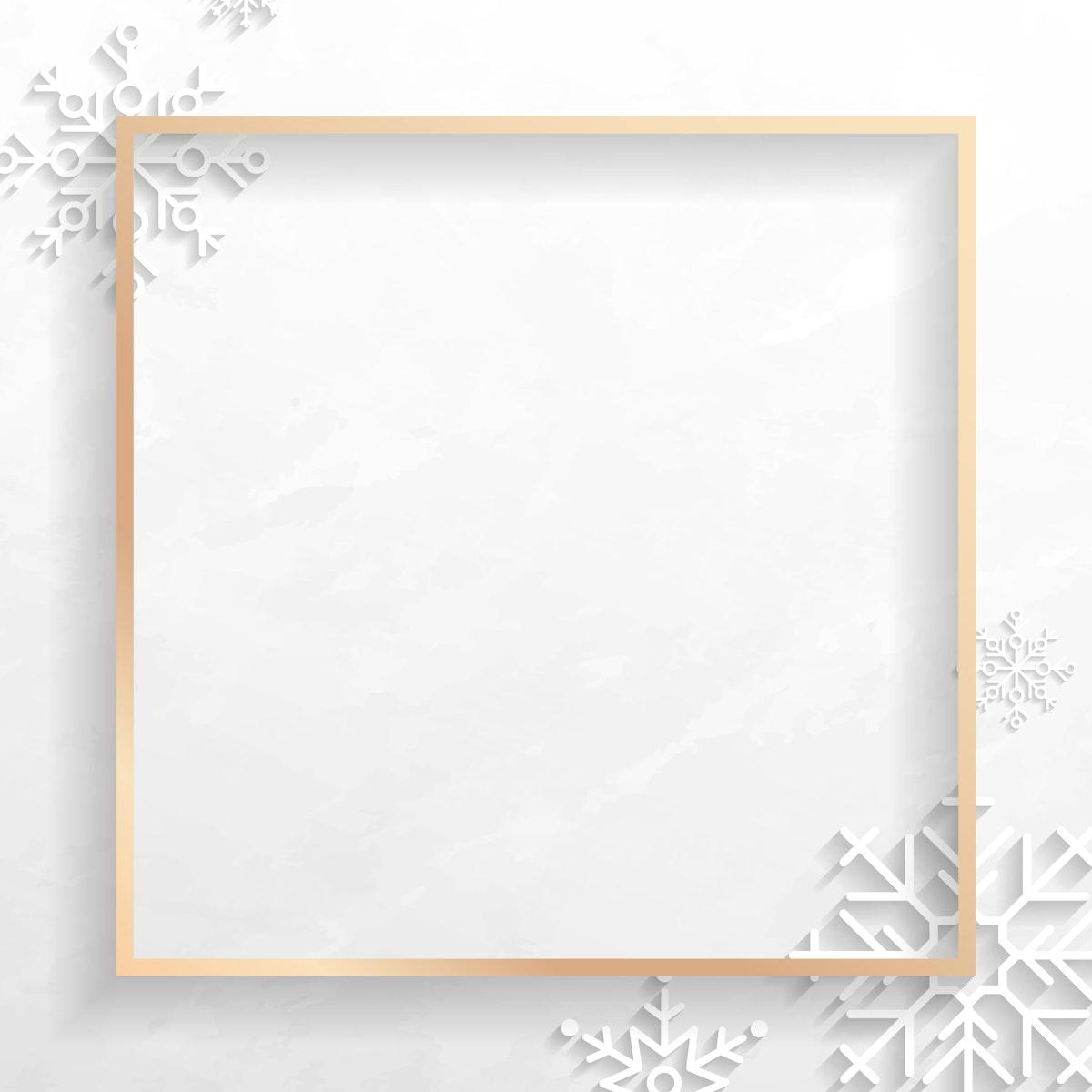 Golden Christmas frame social ads template vector