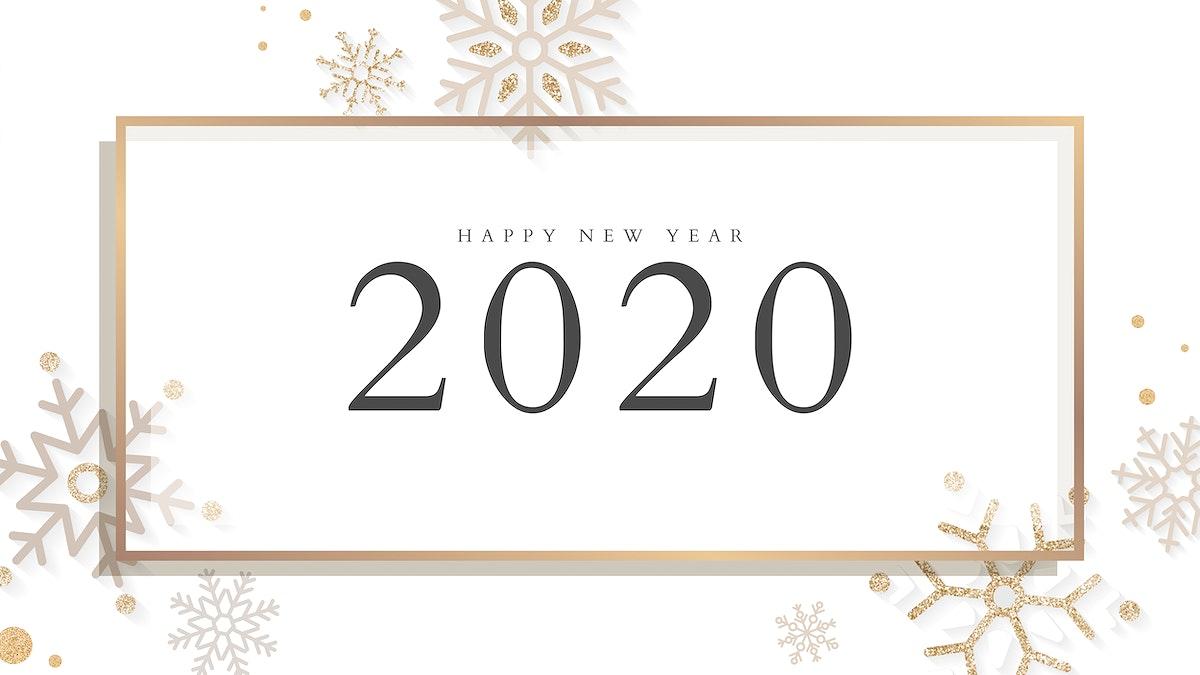 Golden happy new year 2020 wallpaper vector