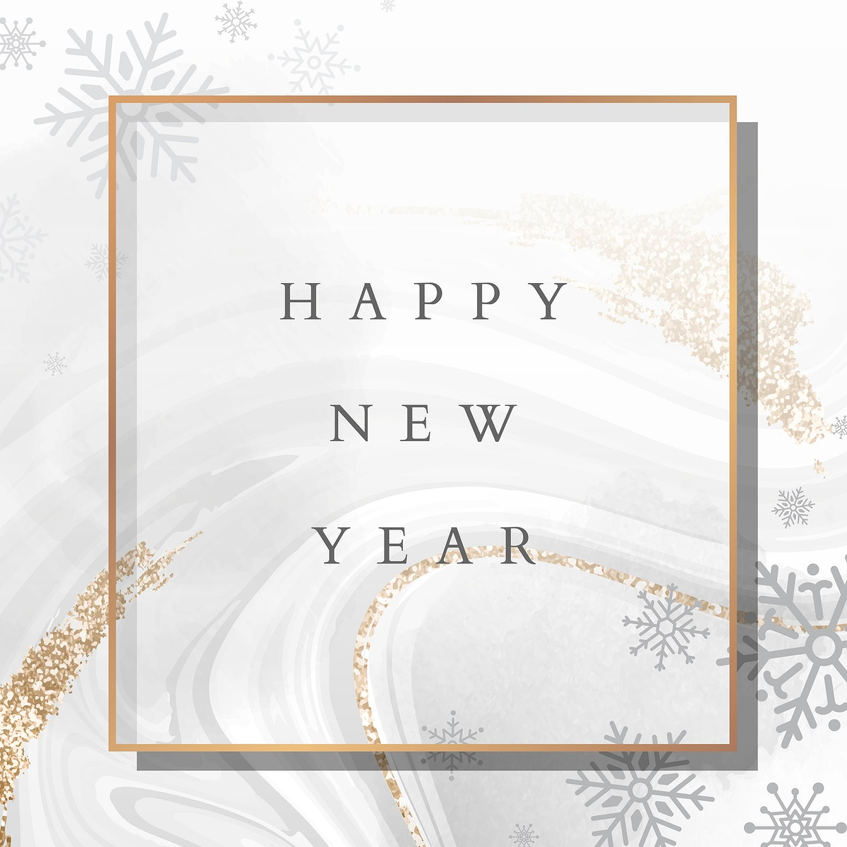 Golden happy new year frame social ads template vector