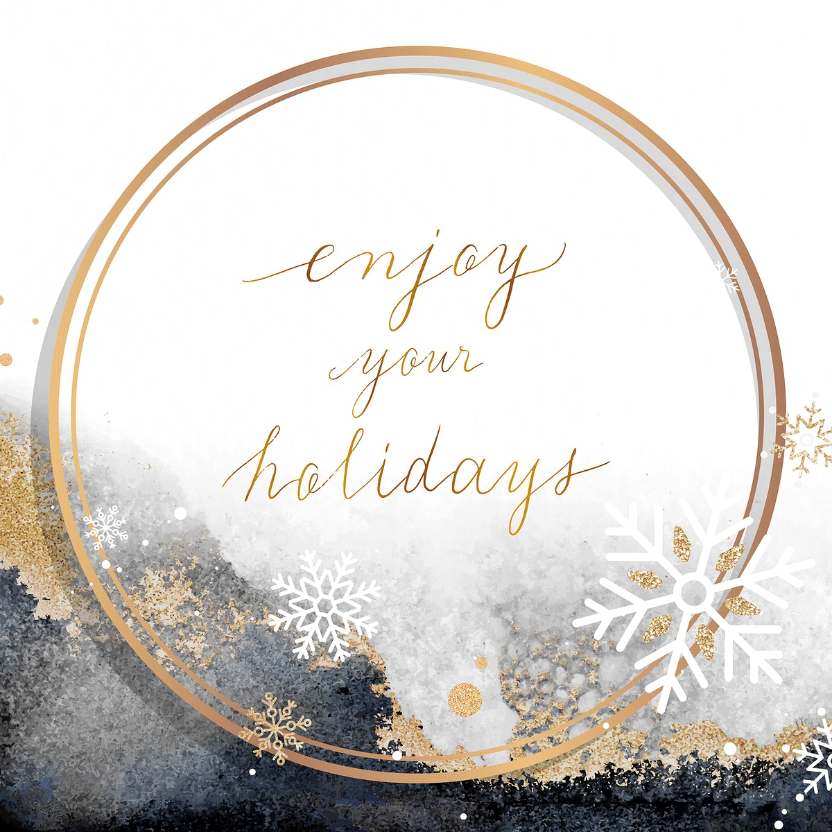 Golden round holiday social ads template vector