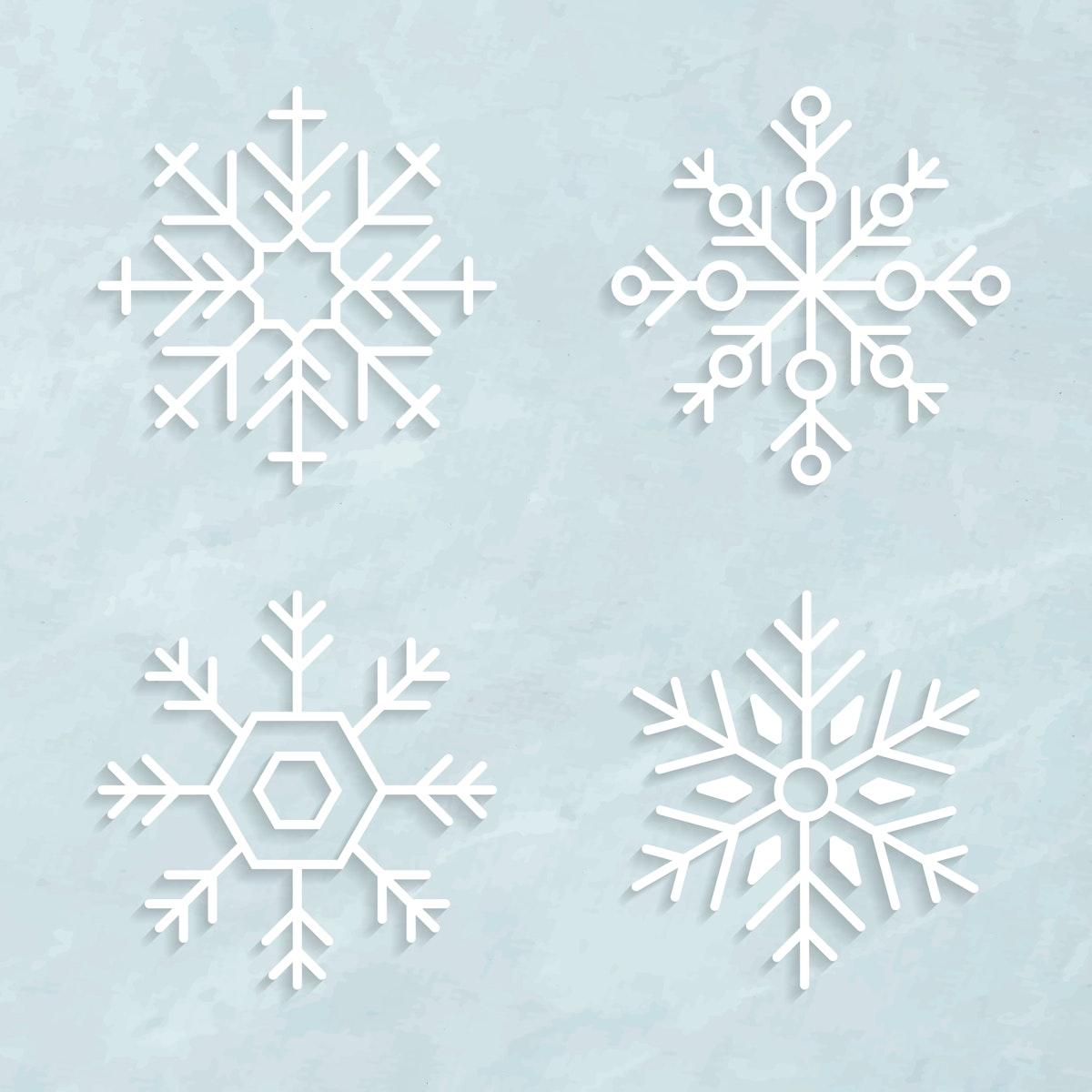 Christmas snowflake social ads template set illustration