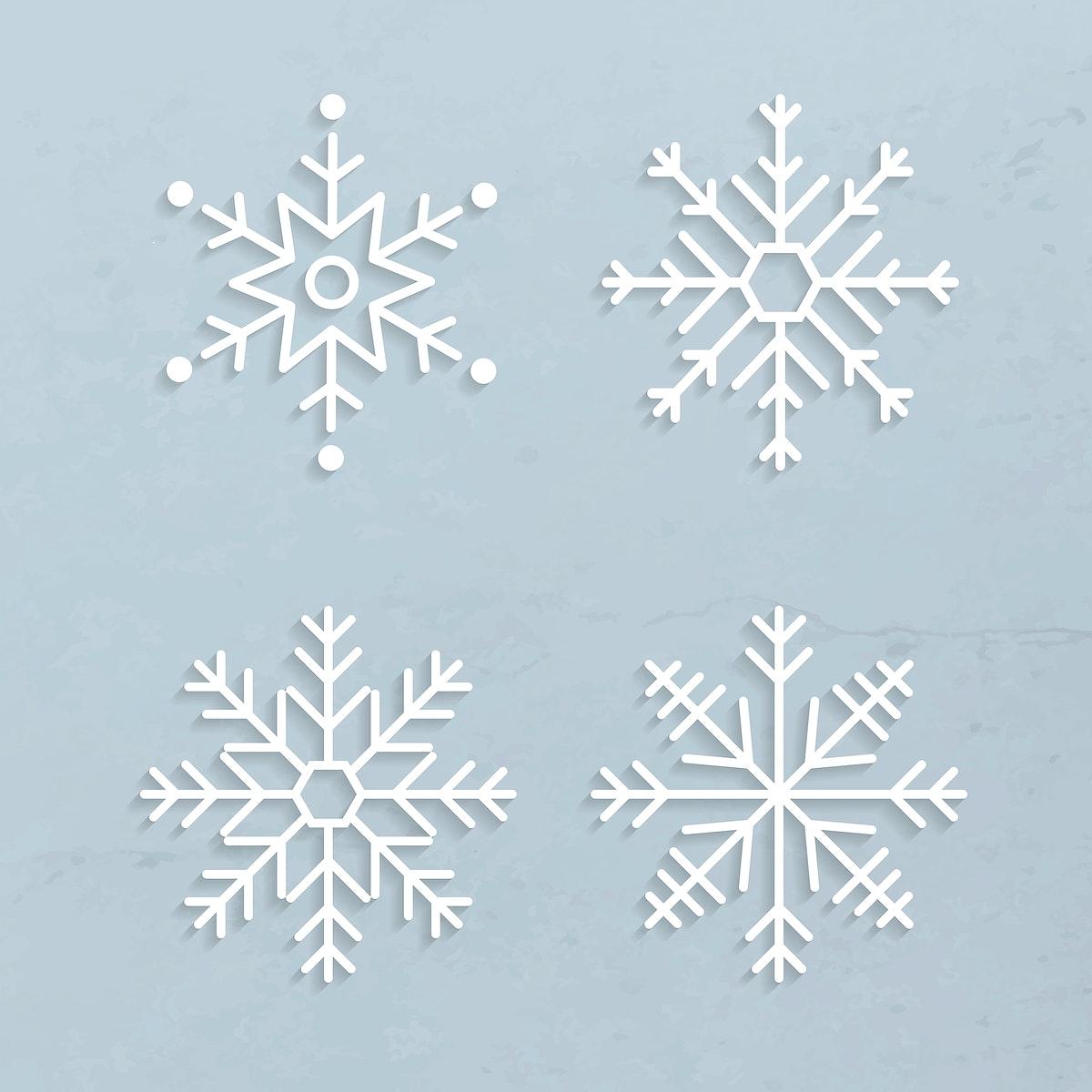 Christmas snowflake social ads template set vector