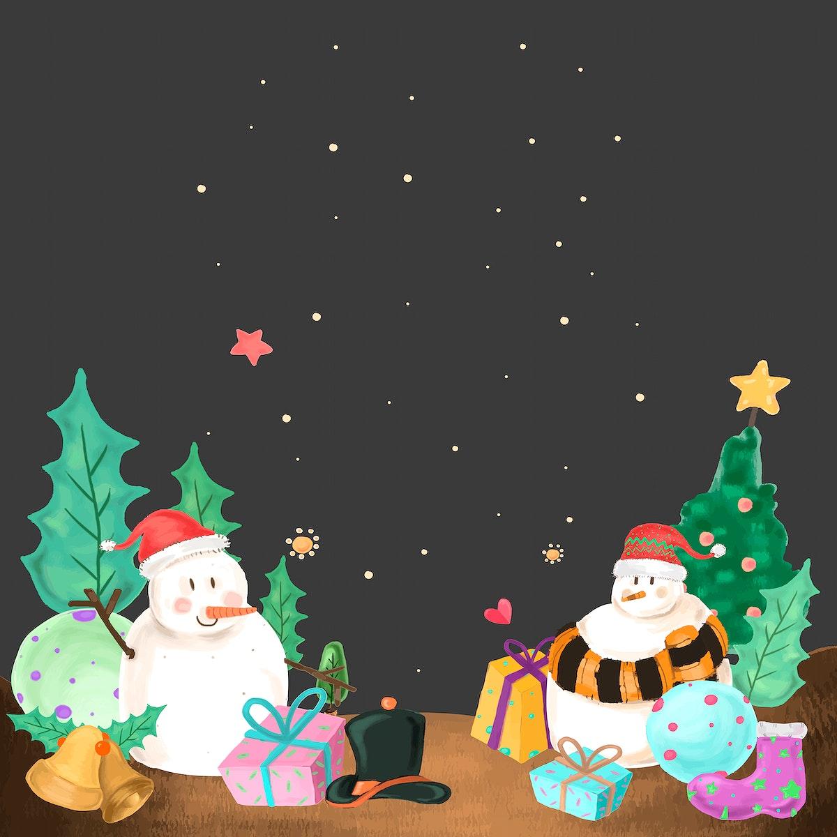 Snowman on Christmas night background vector