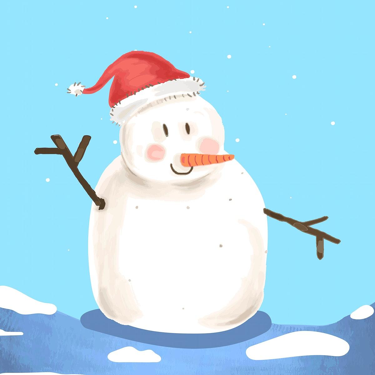 Cute Snowman Christmas element illustration