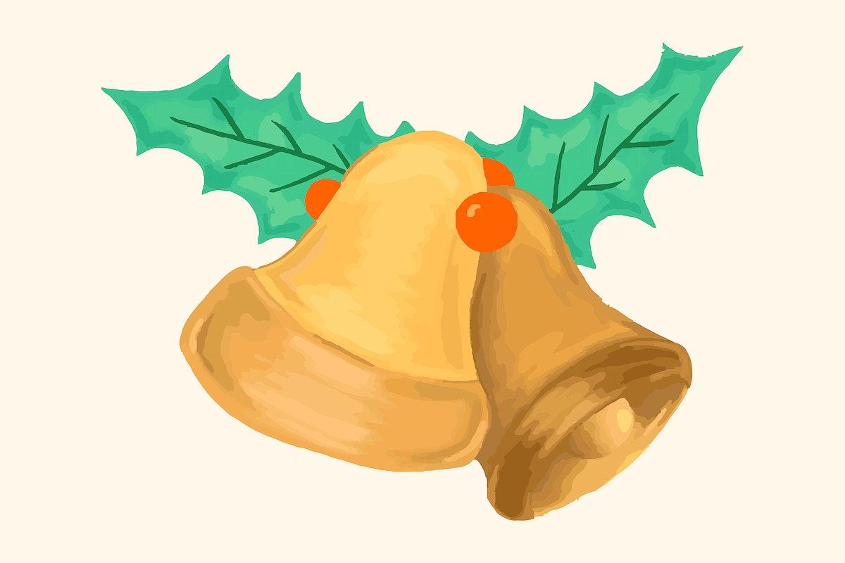 Hand drawn gold bell Christmas element illustration