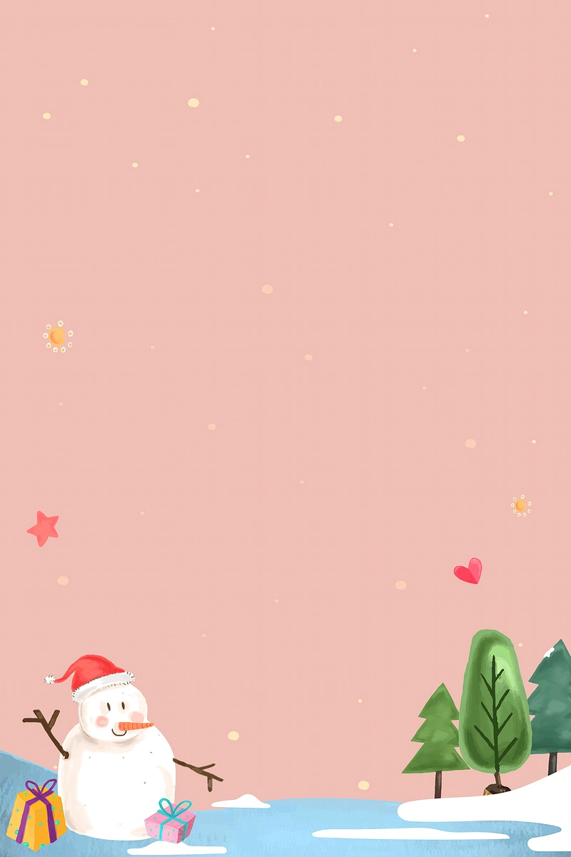 Cute snowman in a forest on pink background vector