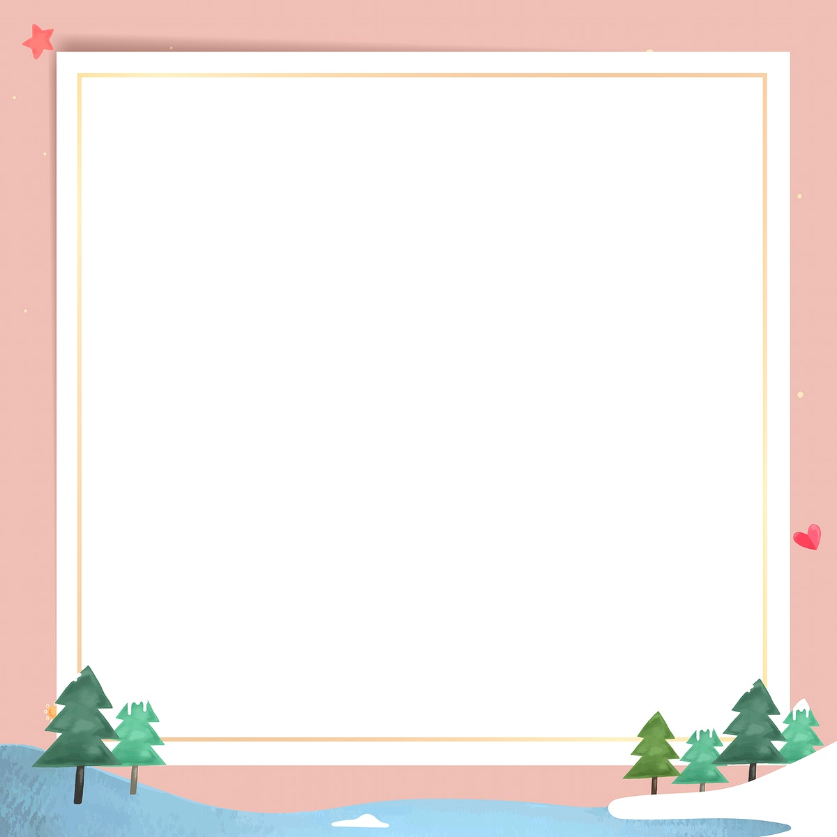 Gold frame with snowy forest pattern  vector