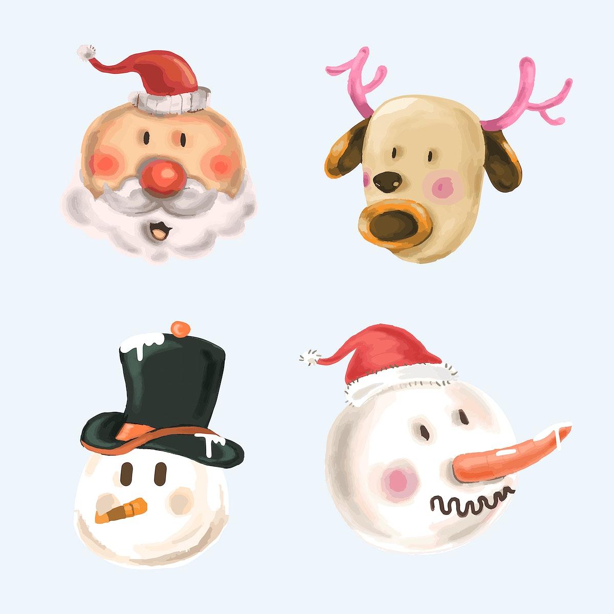 Cute Christmas elements vector set