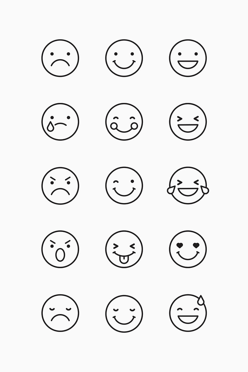 Black outline emoticon set isolated on gray background vector