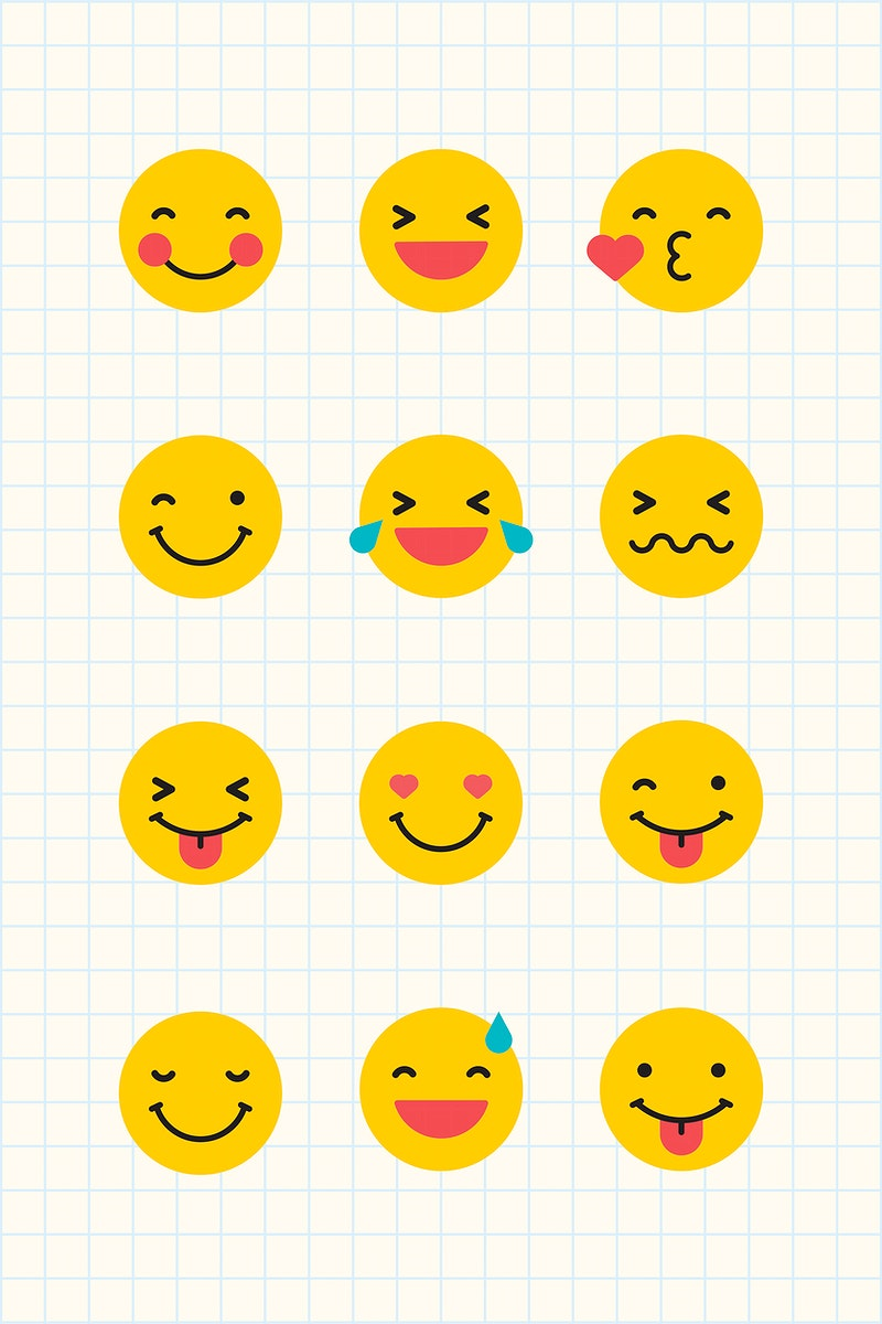Round yellow emoticon set isolated on notepaper background vector