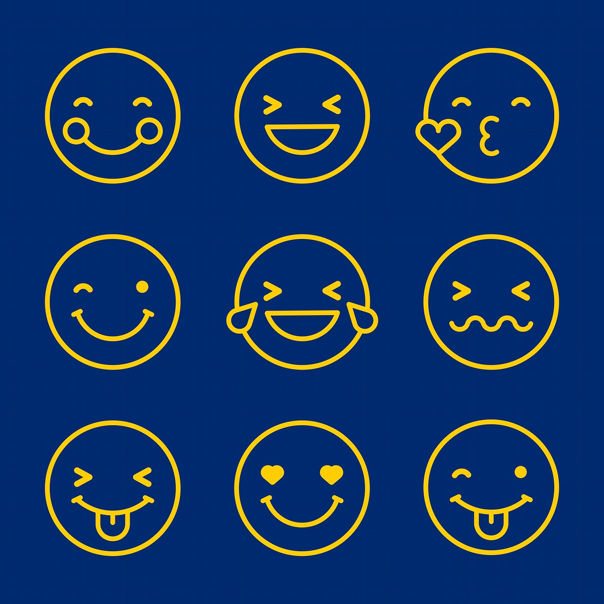 Round yellow outline emoticon set isolated on blue background vector