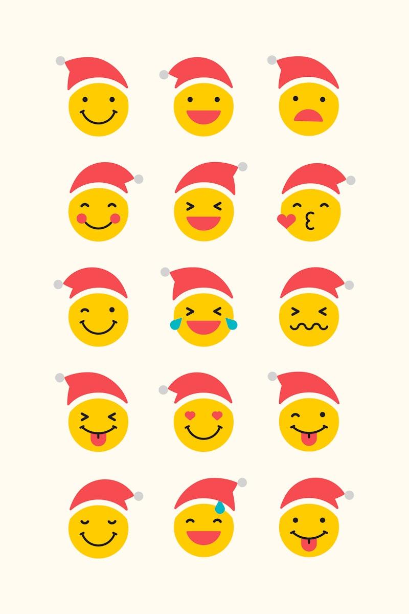 Round yellow Santa emoticon set isolated on beige background vector