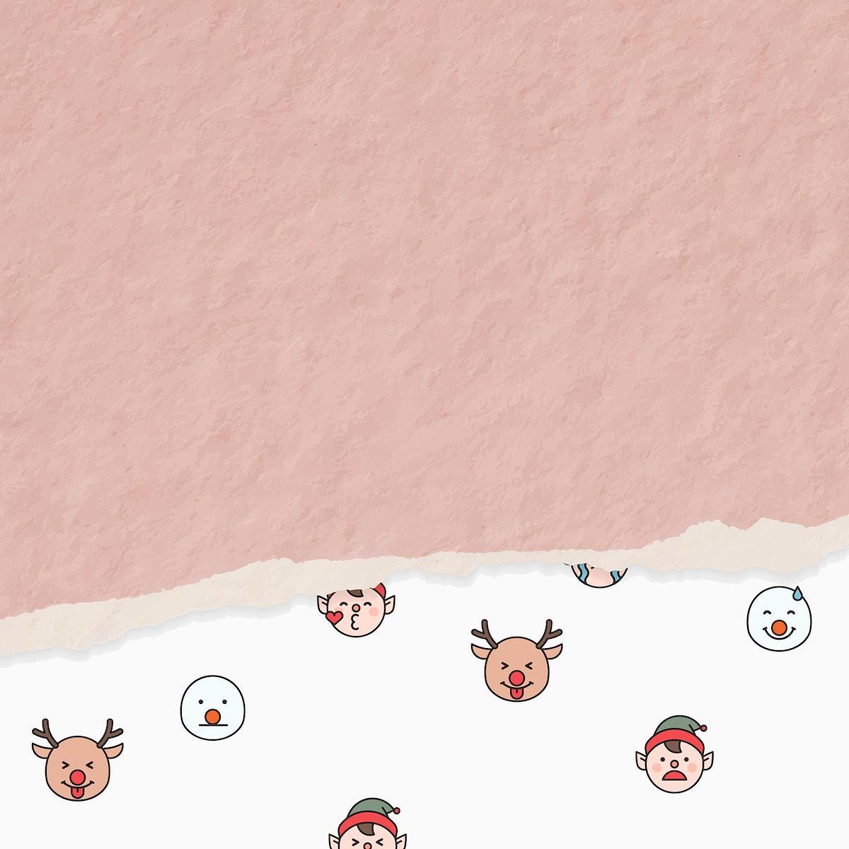 Santa, Rudolph reindeer and elf emoticon patterned background vector