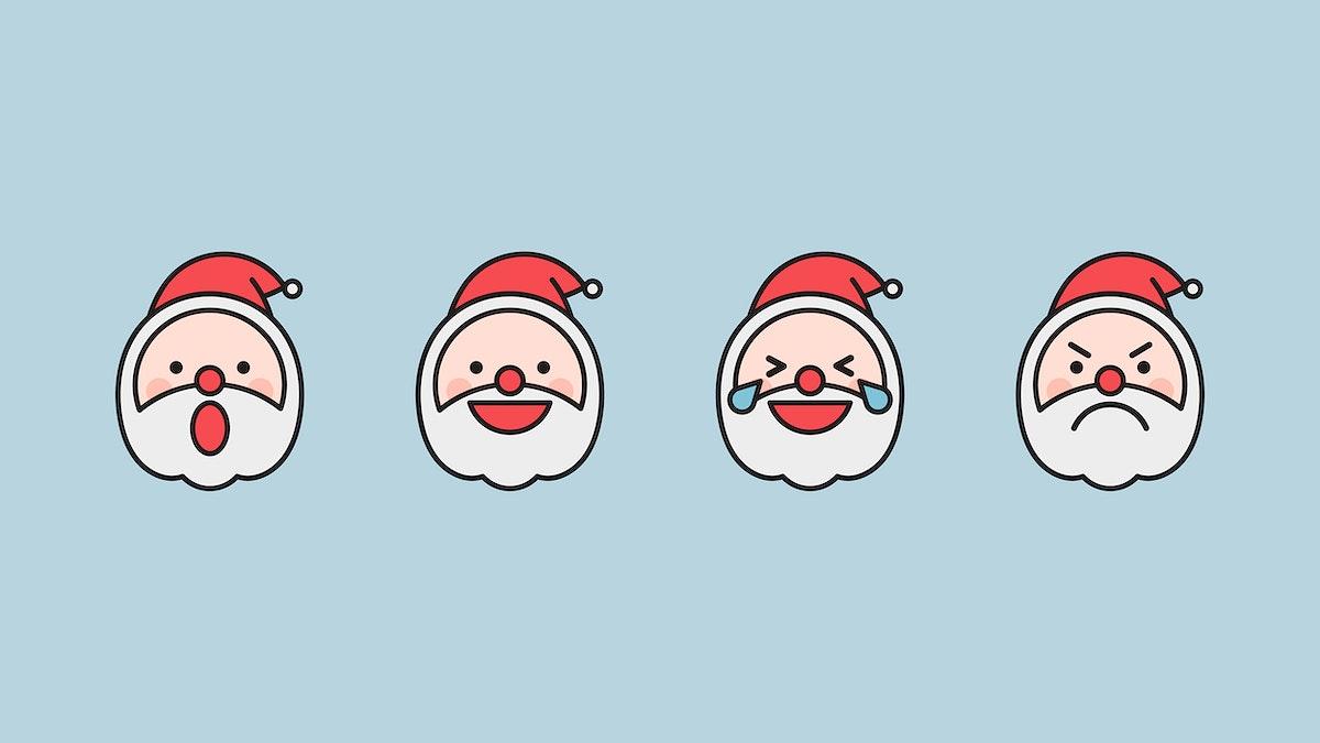 Santa emoticon set isolated on blue background vector