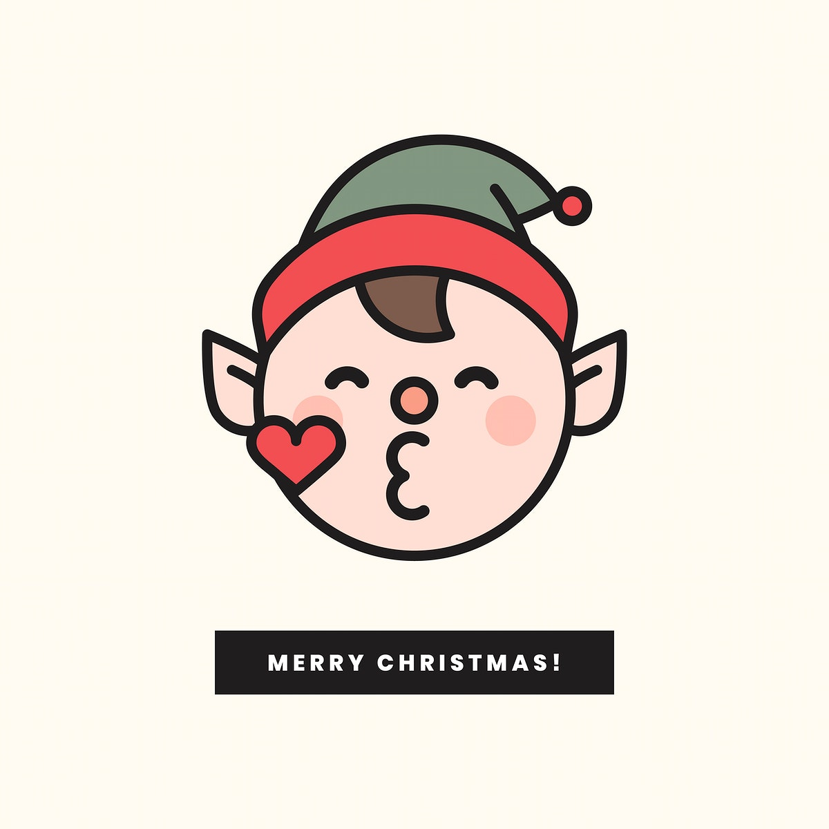 Merry Christmas elf emoticon and Merry Christmas sign isolated on beige background vector