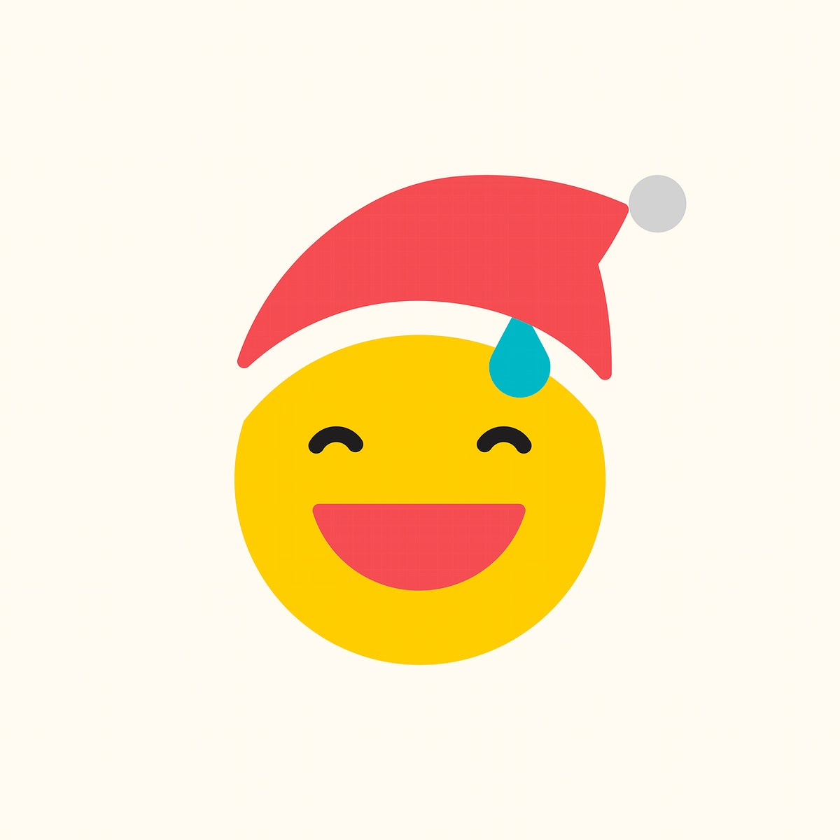 Round yellow Santa with sweat emoticon isolated on beige background vector