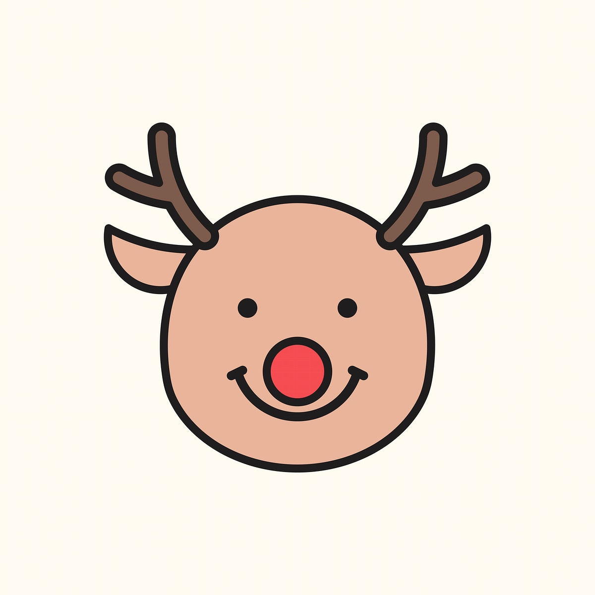 Happy Rudolph reindeer emoticon isolated on beige background vector