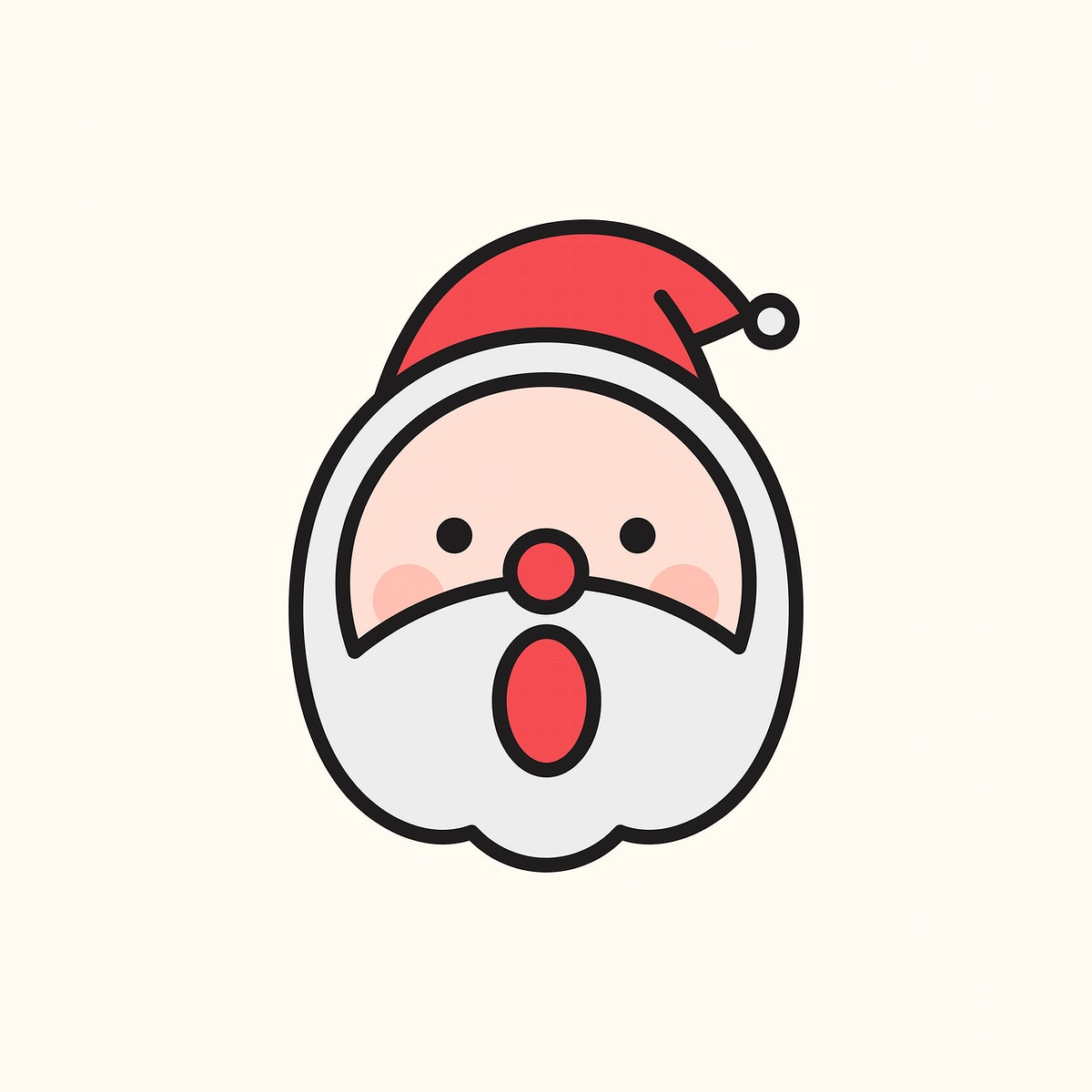 Santa with open mouth emoticon isolated on beige background vector