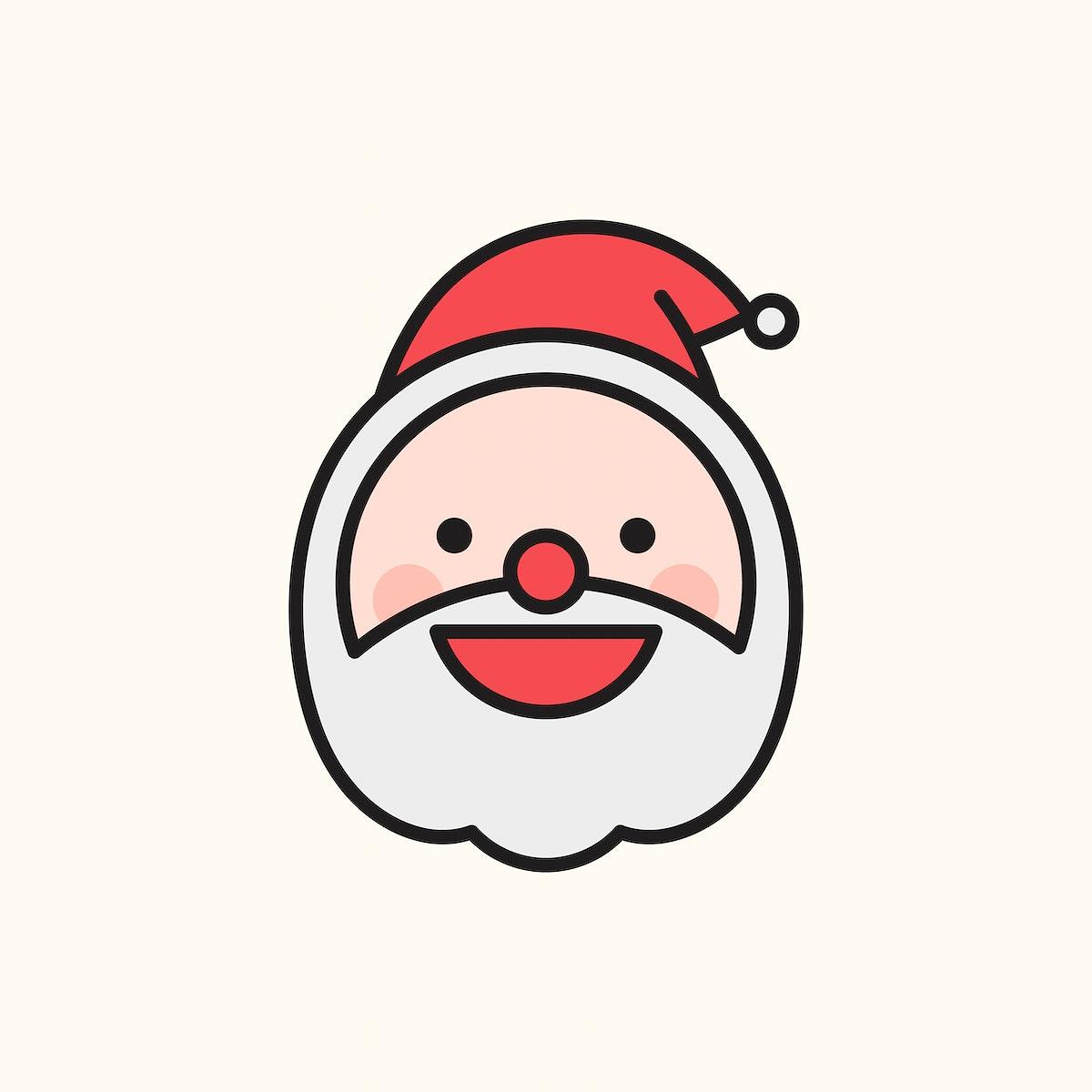 Happy Santa emoticon on beige background vector