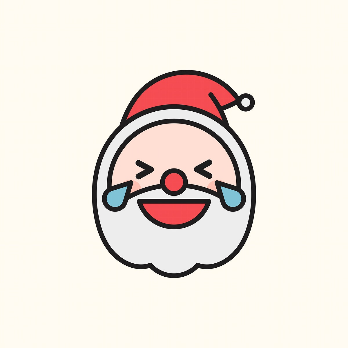 Santa laughing with tears of joy  emoticon isolated on beige background vector