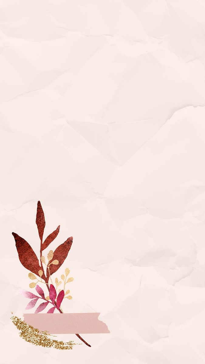Christmas watercolor leafy on beige  wrinkled paper background mobile phone wallpaper vector