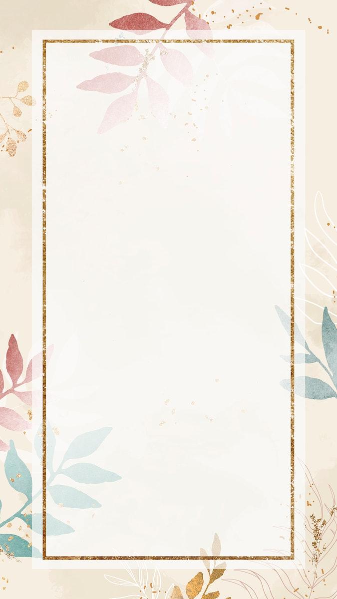 Christmas golden rectangle frame on beige background mobile phone wallpaper vector