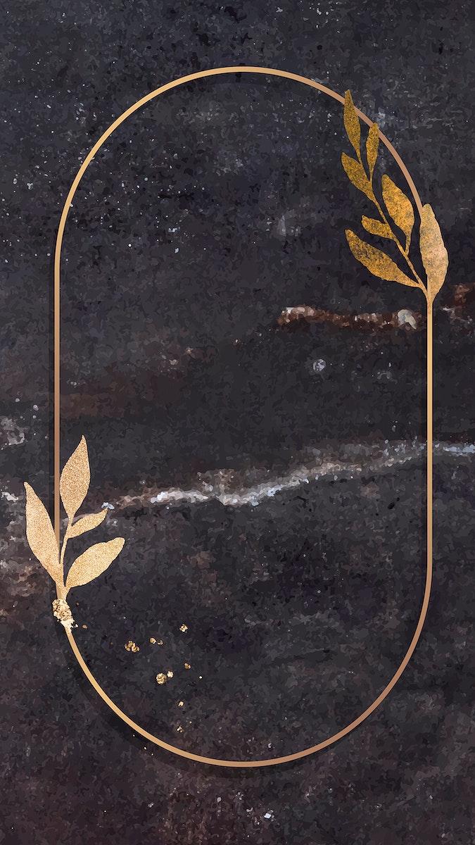 Christmas golden oval frame on black marble background mobile phone wallpaper vector