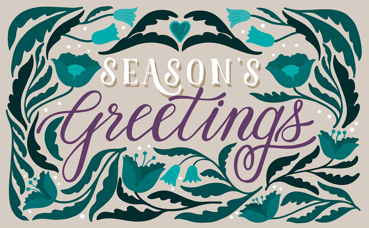 Season's greetings card design vector