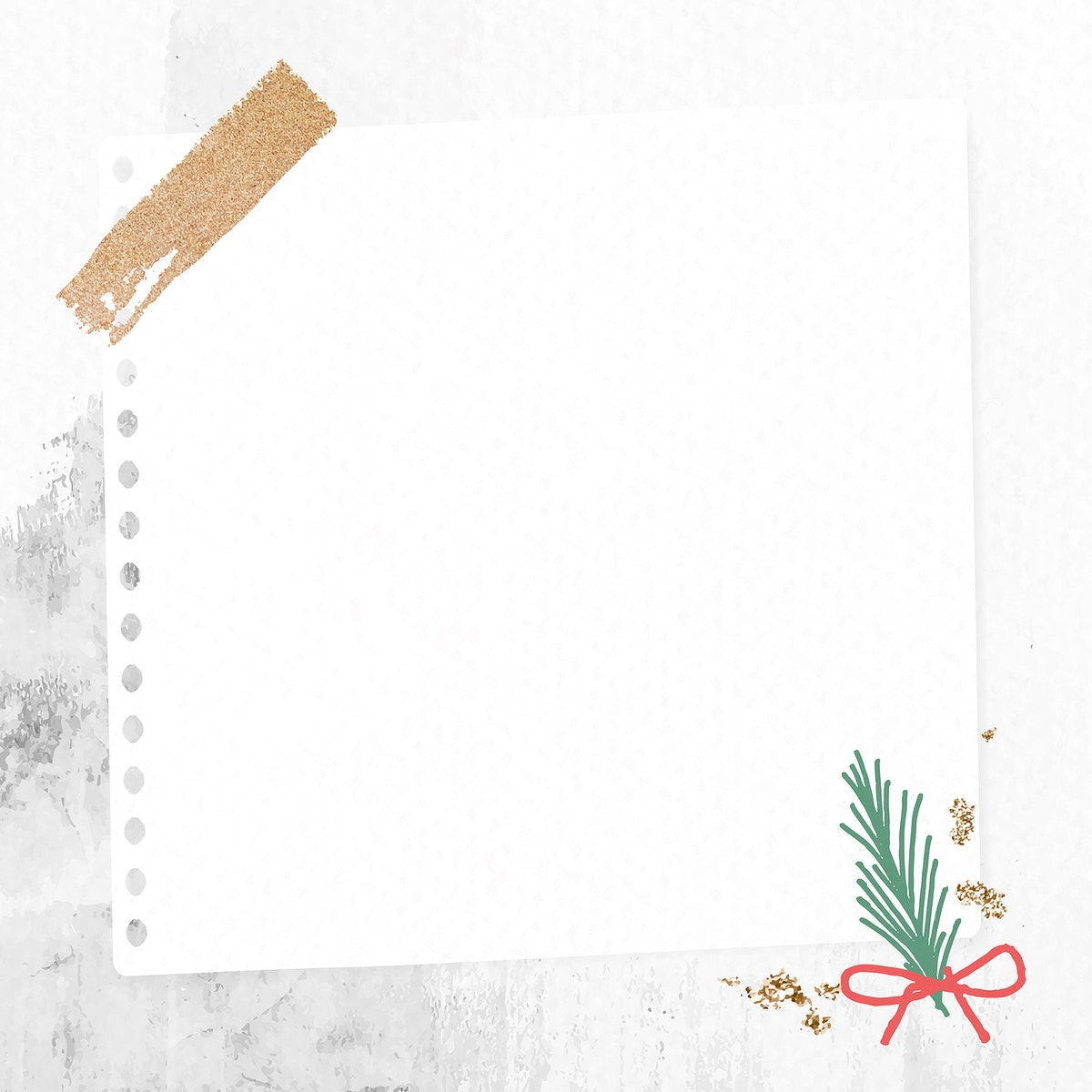 Decorative Christmas note paper on stained background vector