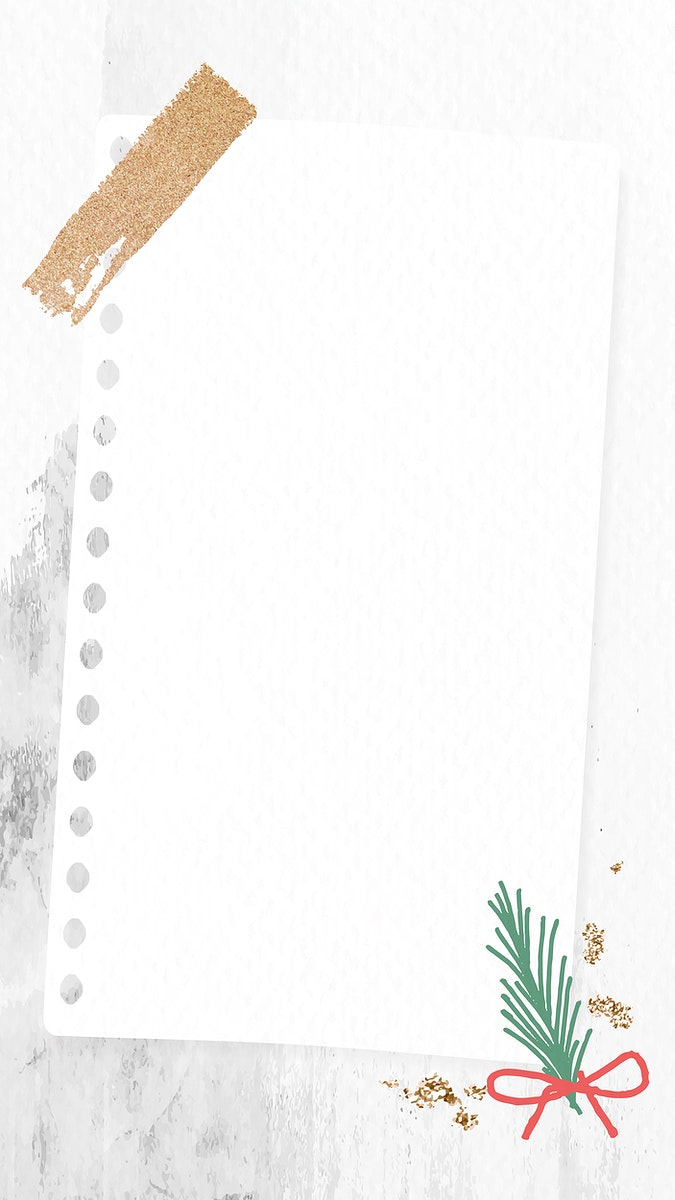 Decorative Christmas note paper on stained background mobile phone wallpaper vector