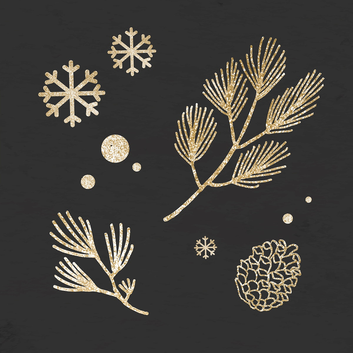 Glittery Christmas tree plants with snowflakes on black background vector